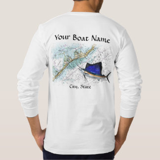 Custom Boat Name with Chart and Sailfish T-Shirt