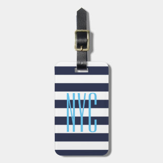 Custom bold nautical stripes travel luggage tags