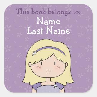 Custom book plates (blonde girl) square sticker