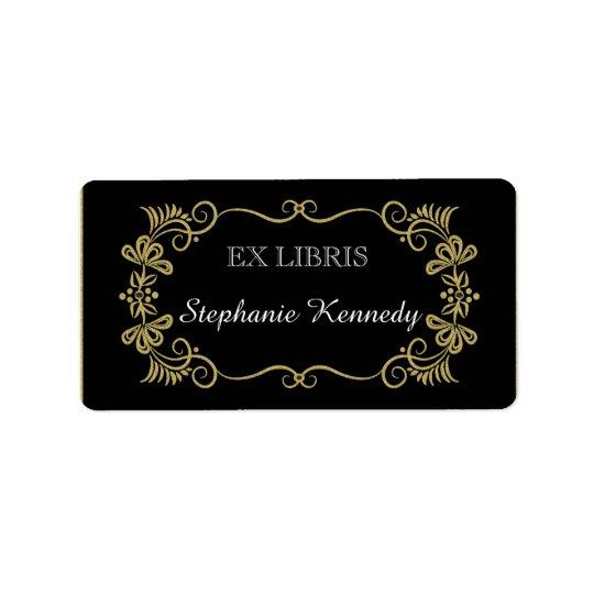Custom Bookplates | Gold Floral Frame On Black
