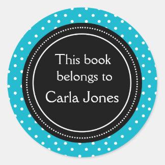 Custom Bookplates | White Dots On Blue Round Sticker
