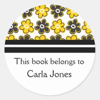 Custom Bookplates|Yellow Black Retro Flowers Round Sticker