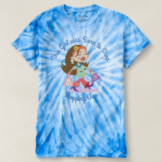 Custom Born to Shop Funk Shopping Diva Blue TieDye T-shirt