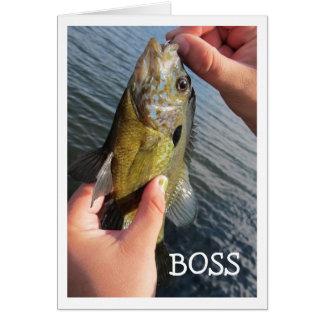 Custom Boss Fishing Humor Birthday Greeting Card