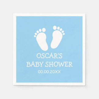 Custom boy baby shower party napkins with feet paper napkins
