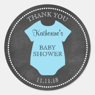 Custom BOY Blue Chalkboard Baby Shower Templates Classic Round Sticker