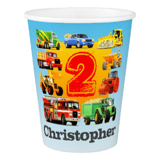 Custom Boy's 2nd Birthday Construction Truck Party Paper Cup