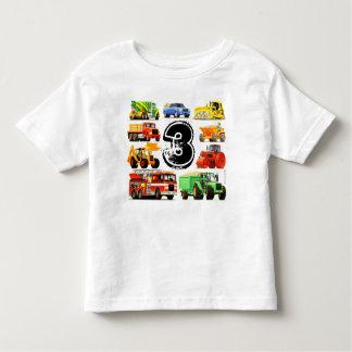Custom Boy's Construction Trucks 3rd Birthday Toddler T-shirt