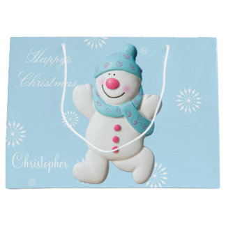 Custom boys name Happy Snowman cute Christmas Large Gift Bag