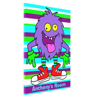 Custom boys room puppet stretched canvas prints