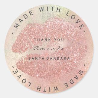 Custom Branding Thanks Kiss Rose Gold Lips WWW Classic Round Sticker