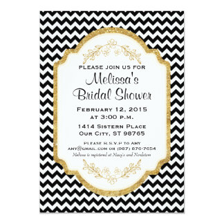 Custom Bridal Shower Invite, Black Chevron, Gold Card