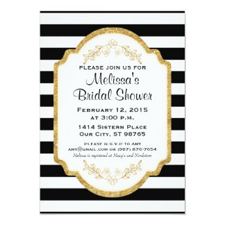 Custom Bridal Shower Invite, Black Stripes, Gold Card