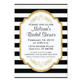 Custom Bridal Shower Invite, Black Stripes, Gold Card