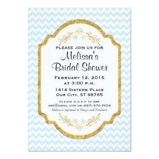 Custom Bridal Shower Invite, Blue Chevron, Gold Card