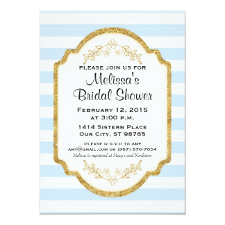Custom Bridal Shower Invite, Blue Stripes, Gold Card