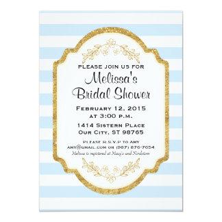 Custom Bridal Shower Invite, Blue Stripes, Gold Card