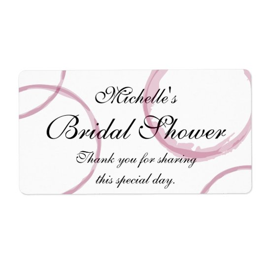 Custom bridal shower labels with wine stain rings