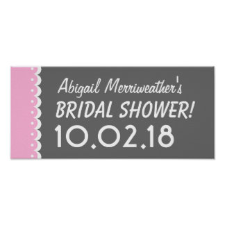 Custom BRIDAL SHOWER or Any Year PINK and GRAY B02 Poster