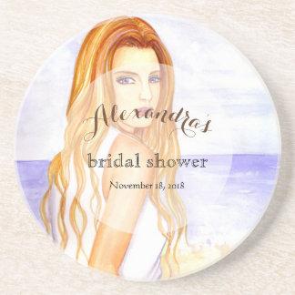Custom Bridal Showers Girl on the Beach Coaster