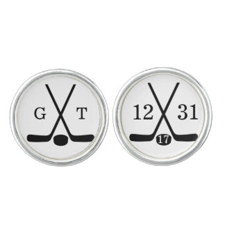 Custom Bride and Groom Monogram Hockey Cufflinks