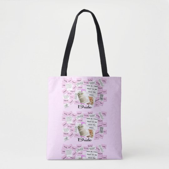 Custom Bride's Pink & White Wedding Tote Bag