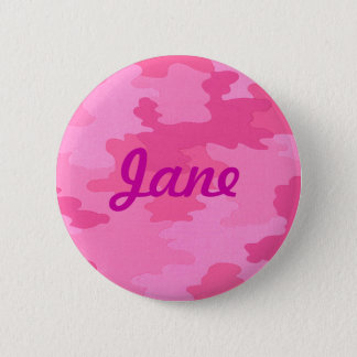 Custom Bright Pink Camouflage Button