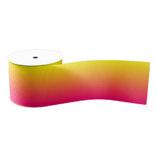 Custom Bright Pink Ombre Grosgrain Ribbon