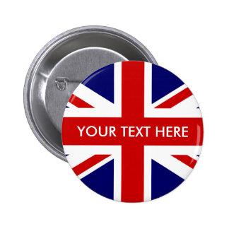 Custom British Union Jack badge pin buttons