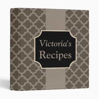 Custom Brown Kitchen Recipe Binder Gift