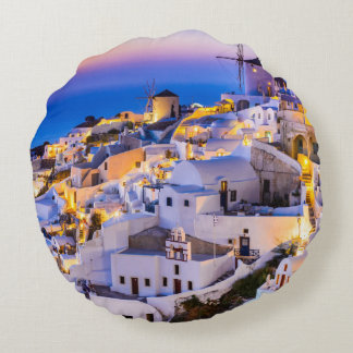 Custom Brushed Polyester Round Throw Pillow Oia