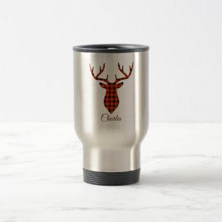 Custom Buck Head Silhouette Plaid Pattern Travel Mug