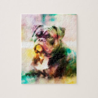 Custom Bulldog Watercolor Painting Jigsaw Puzzle
