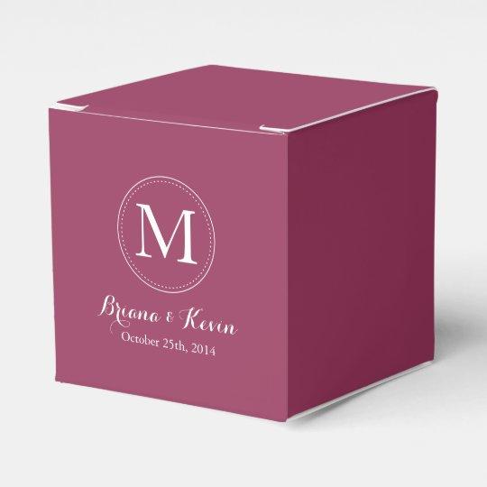 Custom Burgundy Coloured Monogram Favour Boxes