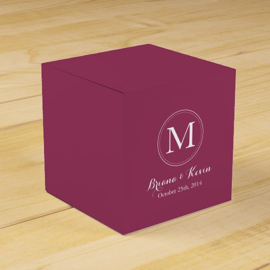 Custom Burgundy Coloured Monogram Favour Boxes Favor Box