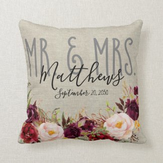 Custom Burgundy Floral Mr and Mrs Wedding Keepsake Throw Pillow