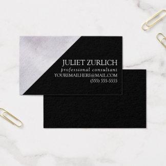 Custom Business Card Black Purple Watercolor Block
