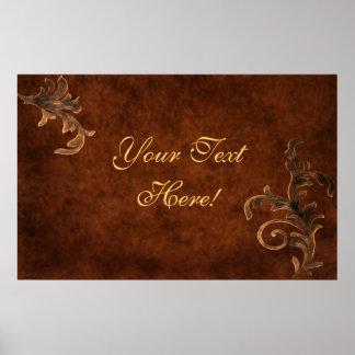 Custom Business Title Bronze Scroll Leaf Print