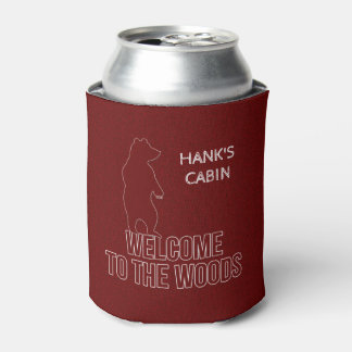 Custom Cabin Theme with Bears in Red Can Cooler