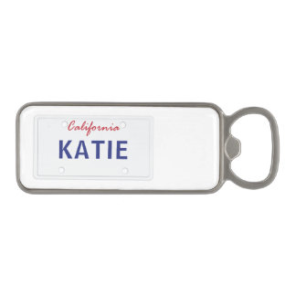 Custom Cali License Plate Magnetic Bottle Opener