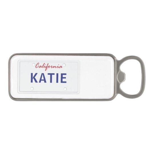 Custom Cali License Plate Magnetic Bottle Opener