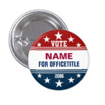 Custom Campaign Button Red, White Blue