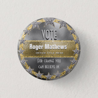 Custom Campaign Template Silver and Gold 1 Inch Round Button