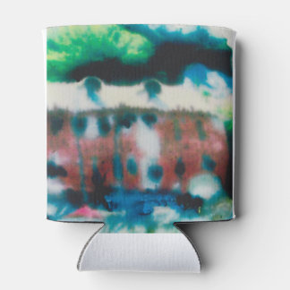 custom can cooler with abstract design