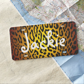 Custom Car License Plate - Leopard Gold