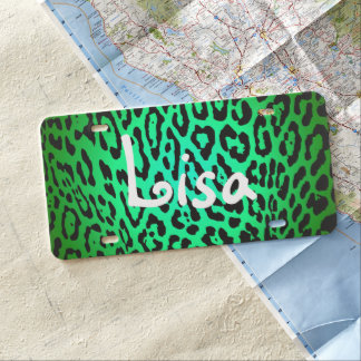 Custom Car License Plate - Leopard Green