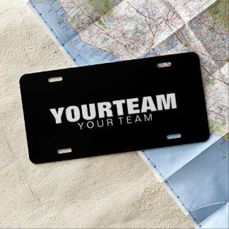Custom Car License Plate - Your Team - Black