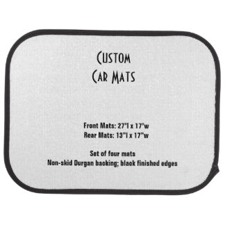 Custom Car Mats  Set of 4 Template Car Mat