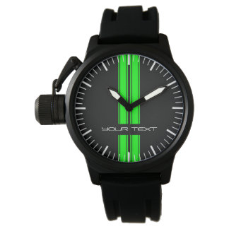 Custom Car Watch - Racing Stripes Green