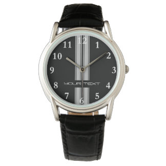 Custom Car Watch - Racing Stripes Grey